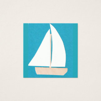 Turquoise Business Card with Sailboat