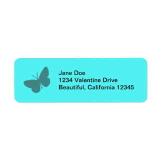 Turquoise Butterfly Address Labels