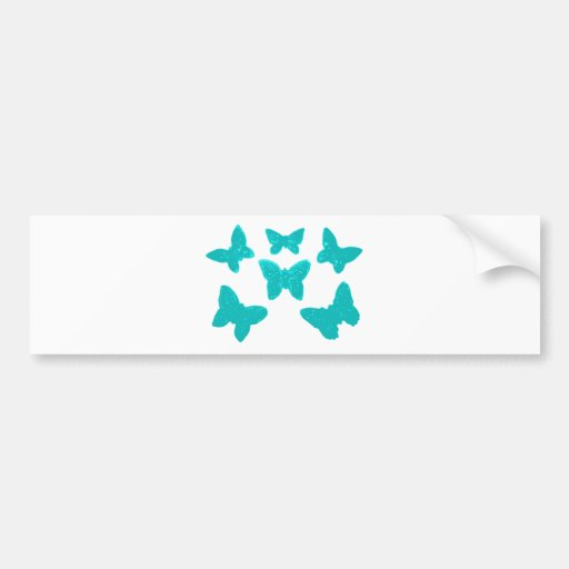 Turquoise Butterfly Pattern Bumper Stickers