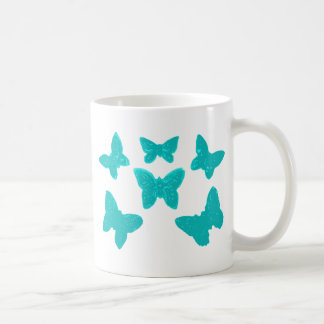 Turquoise Butterfly Pattern Coffee Mug