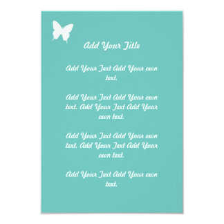 "Turquoise Butterfly Wedding Stationary 3.5"" X 5"" Invitation Card"