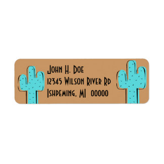 Turquoise Cactus & Saddle Brown Return Addr Labels