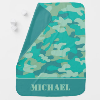 Turquoise Camouflage | Personalized Baby Blanket
