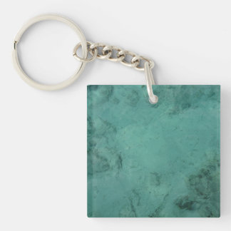 Turquoise Caribbean Tropical Sea Double-Sided Square Acrylic Keychain