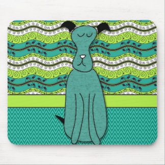Turquoise Cartoon Dog with Green and White Mouse Pad