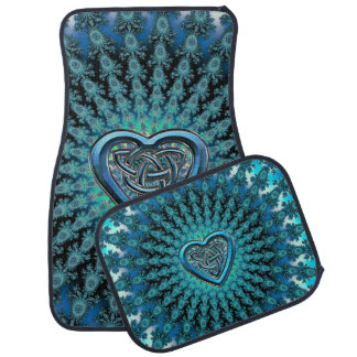Turquoise Celtic Heart Knot Fractal Mandala Car Mat