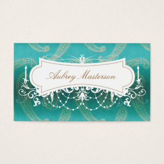 Turquoise Chandelier Paisley Business Card Templat