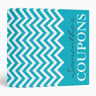 Turquoise chevron coupon organizer binder holder