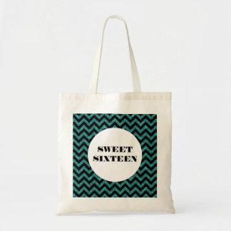 Turquoise Chevron Glitter Sweet 16 Tote Bag