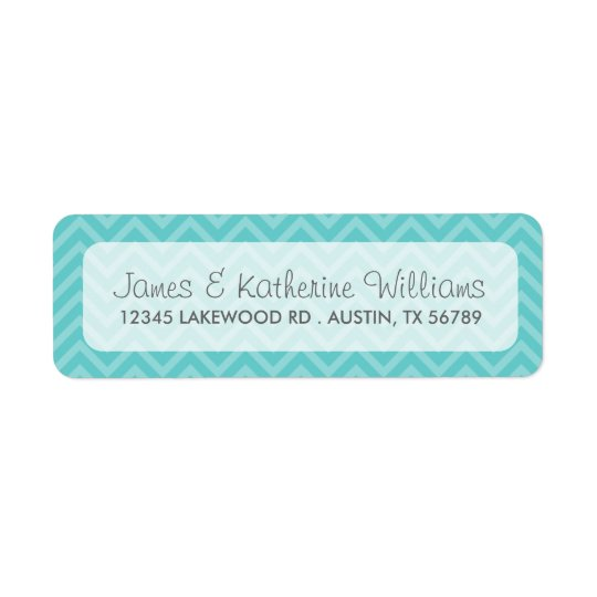 Turquoise Chevron Stripes Modern Wedding Return Address Label