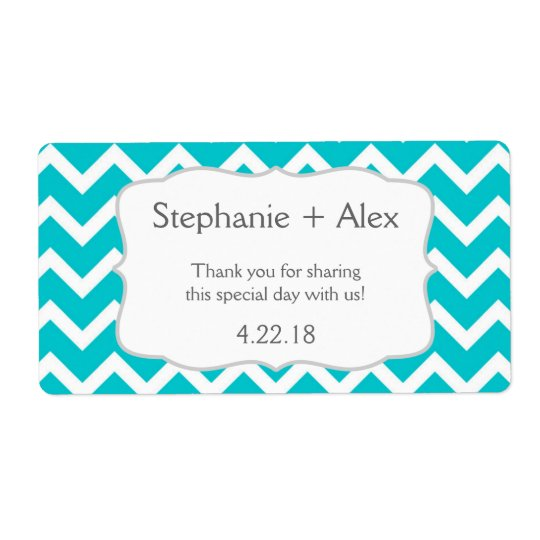 Turquoise Chevron Water Bottle - customize it! Shipping Label