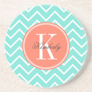 Turquoise Chevron with Orange Monogram Coaster