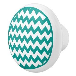 Turquoise Chevron Zigzag Ceramic Knob
