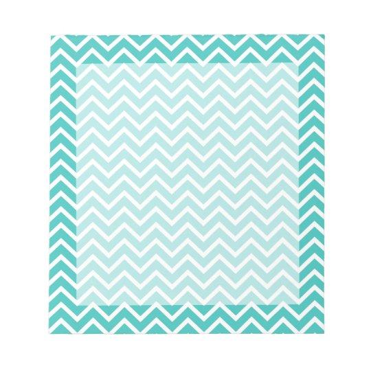 Turquoise Chevron Zigzag Stripes Notepad