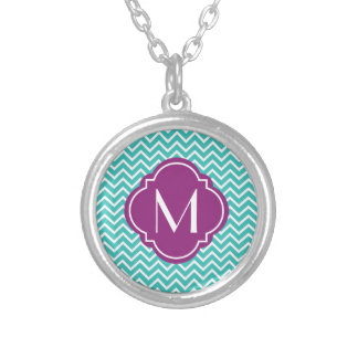 Turquoise Chevron Zigzag Stripes with Monogram Silver Plated Necklace