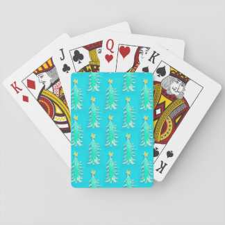 Turquoise Christmas tree playing cards
