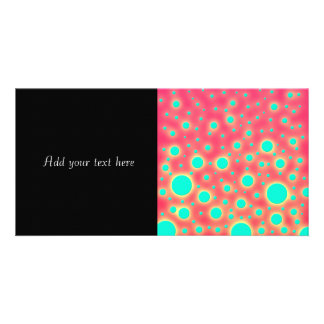 Turquoise Circles over Bright Pink Modern Design Photo Cards