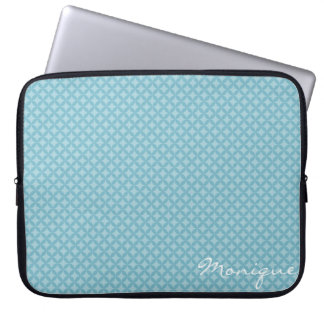 turquoise circles personalized by name laptop sleeve