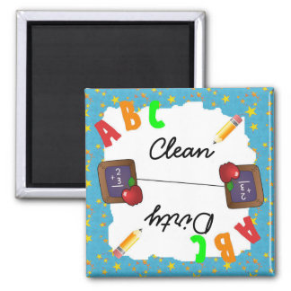Turquoise Clean & Dirty School Chalkboard Magnet