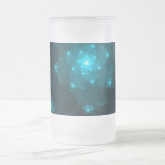 Turquoise Color Abstract Fractal. 16 Oz Frosted Glass Beer Mug