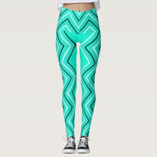 Turquoise color black white chevron zigzag stripe leggings