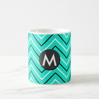 Turquoise color chevron monogram Classic Mug