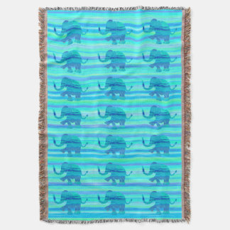 Turquoise Colored Striped Elephant Pattern Throw Blanket