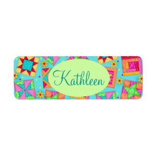 Turquoise Colorful Patchwork Quilt Block Custom