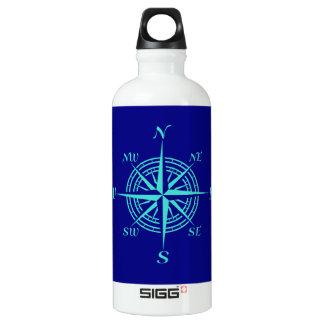 Turquoise Compass Rose On Navy Blue Coastal Decor