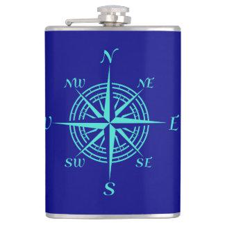 Turquoise Compass Rose On Navy Blue Coastal Decor Hip Flask