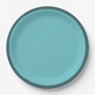 turquoise concentric paper plate