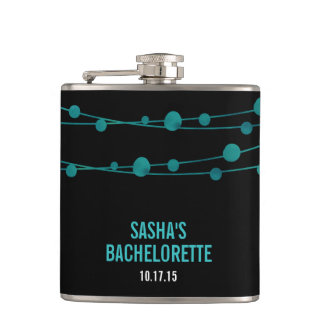 Turquoise Confetti Personalized Bachelorette Party Flask