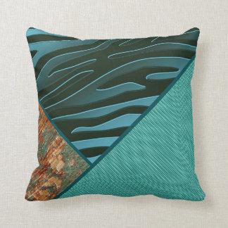 Turquoise Copper Zebra Stripe Herringbone Stone Throw Pillow