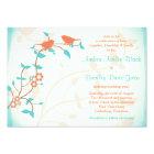 Turquoise Coral Birds Leaves Wedding Invitation
