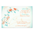Turquoise Coral Birds Leaves Wedding RSVP Reply Card