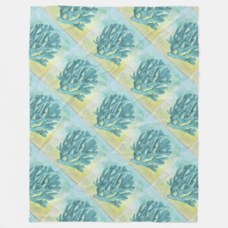 Turquoise Coral Branch Fleece Blanket