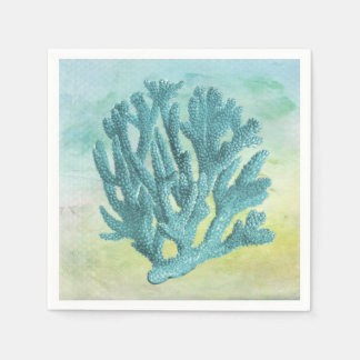 Turquoise Coral Branch Paper Napkins