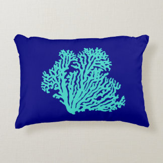Turquoise Coral On Navy Blue Coastal Decor Decorative Pillow