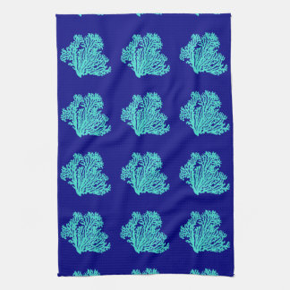 Turquoise Coral On Navy Blue Coastal Decor Kitchen Towel