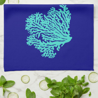 Turquoise Coral On Navy Blue Coastal Decor Kitchen Towels