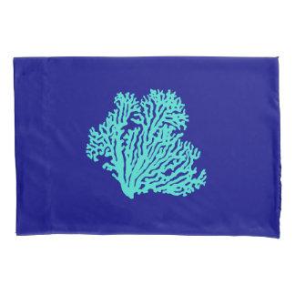 Turquoise Coral On Navy Blue Coastal Decor Pillowcase