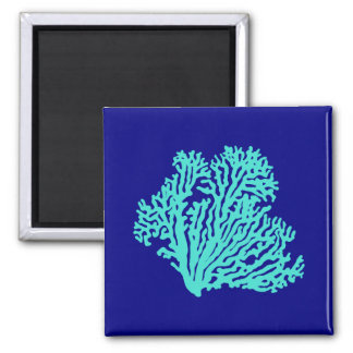 Turquoise Coral On Navy Blue Coastal Decor Square Magnet