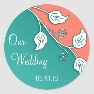 Turquoise Coral Vine Wedding Stickers