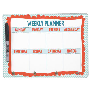Turquoise & Coral Weekly Planner Whiteboard
