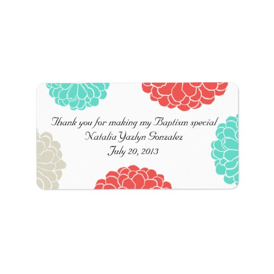 Turquoise & Coral Zinnia Flower Address Label