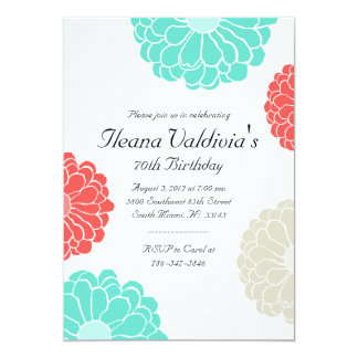 Turquoise Coral Zinnia Flower Birthday Invitation