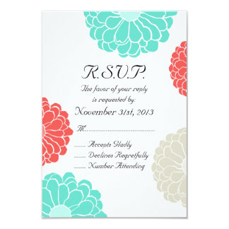 Turquoise Coral Zinnia Flower Wedding RSVP Card