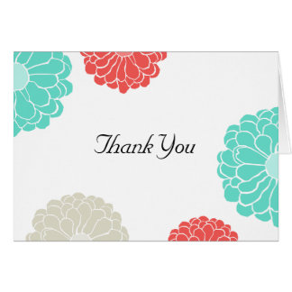 Turquoise & Coral Zinnia Flower Wedding Thank You Card