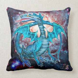 Turquoise Cosmic Dragon Throw Pillow