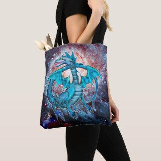 Turquoise Cosmic Dragon Tote Bag